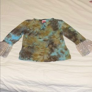 Retro tied dye shirt with bell sleeves
